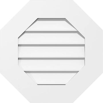 Ekena Millwork Non-Functional, Standard Frame 1-in x 42-in Off-white Octagon PVC Gable Vent | GVPOC42X4201SN