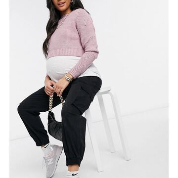 Mamalicious Maternity cropped sweater with V-neck in lilac-Purple