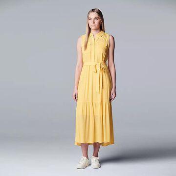 Petite Simply Vera Vera Wang Belted Tiered Shirt Dress, Women's, Size: XS Petite, Lt Yellow
