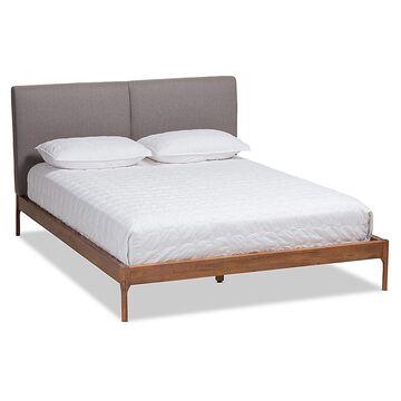 Baxton Studio Candice Full Upholstered Platform Bed In Walnut/grey grey/walnut