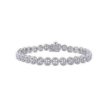 1 Carat T.W. Diamond Sterling Silver Halo Tennis Bracelet, 7