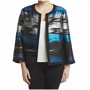 Kasper Womens Plus Metallic Abstract Pattern Jacket