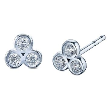 Annello by Kobelli 14k White Gold 1/10 Carat TDW Trinity Diamond Stud Earrings (White - White)