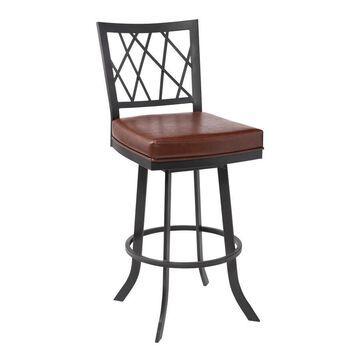 Armen Living Giselle Vintage Coffee Bar Height Upholstered Swivel Bar Stool in Black   LCGSBAMBVC30