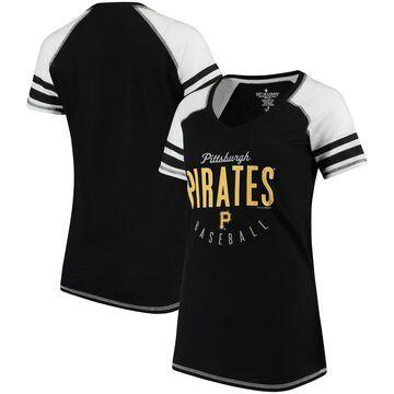 Pittsburgh Pirates Soft As A Grape Women's Down the Line Color Blocked Tri-Blend V-Neck Raglan Sleeve T-Shirt - Black