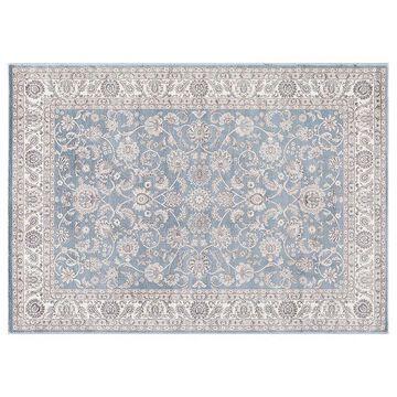 Concord Global Kashan Bergama Framed Floral Rug, Blue, 5X7 Ft