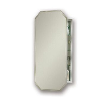 Jensen Metro Octagon 15-in x 31.25-in Rectangle Surface/Recessed Mirrored Steel Medicine Cabinet