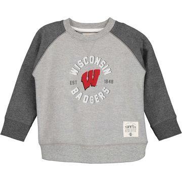 Wisconsin Badgers Youth Jay Raglan Crew Neck Sweatshirt - Gray