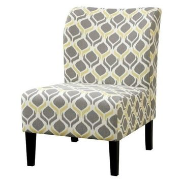 Bowery Hill Fabric Accent Chair, Yellow