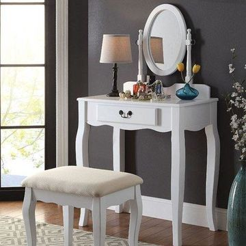 Benzara BM132001 Samantha Transitional Vanity, White