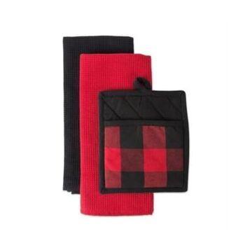 Design Imports Buffalo Check Potholder Dishtowel Kitchen Set