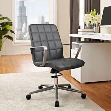 Modway Tile Vinyl Office Chair in Grey