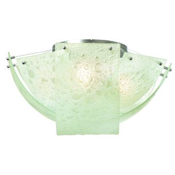 Kalco Satin Nickel Cirrus 3-Light Flush Mount With Bubble Glass