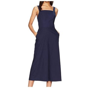 Amanda Uprichard Womens Deep Blue Size Large L Square-Neck Jumpsuit