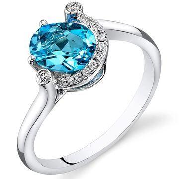 Oravo 14k White Gold Swiss Blue Topaz Diamond Ring Oval Shape 1.4 carat Size - 7