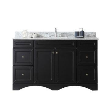 Virtu USA Talisa 60-in Espresso Undermount Single Sink Bathroom Vanity with Italian Carrara White Marble Top in Brown
