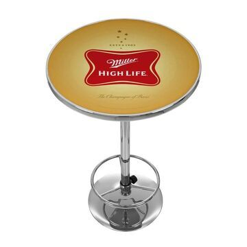Trademark Gameroom Pub Tables Yellow Round Bar Table, Composite with Metal Metal Base