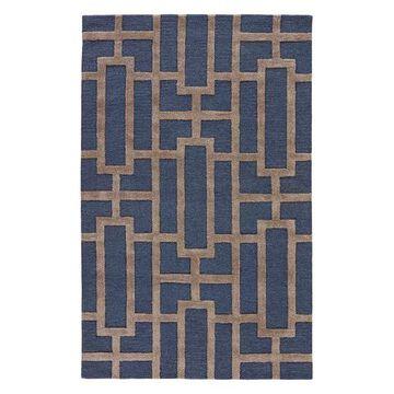Jaipur Living Dallas Handmade Trellis Navy/Gray Area Rug, 3'6