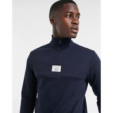 Jack & Jones Core sweater with 1/4 zip in white-Navy