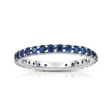 Noray Designs 14K White Gold Blue Sapphire Eternity Ring (1.10 cttw)