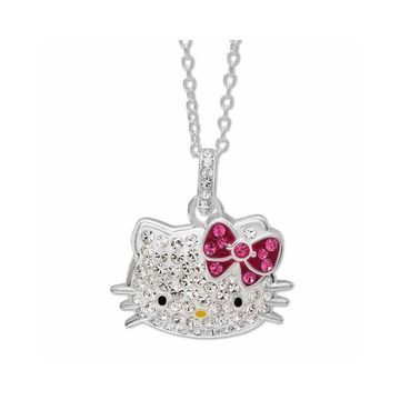 Hello Kitty Sterling Silver Crystal Head Pendant Necklace