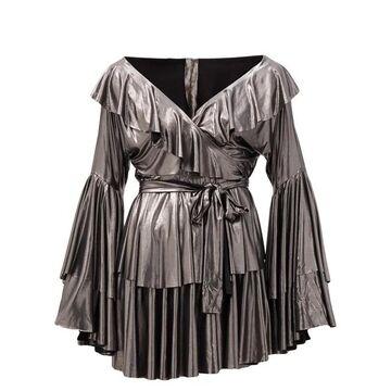 Norma Kamali - Tiered Metallic-jersey Wrap Dress - Womens - Silver