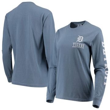 Detroit Tigers Soft as a Grape Women's Pigment Dye Comfort Color Long Sleeve T-Shirt - Navy