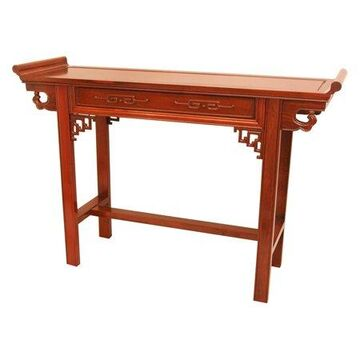 Oriental Furniture Rosewood Qing Hall Table, Honey color