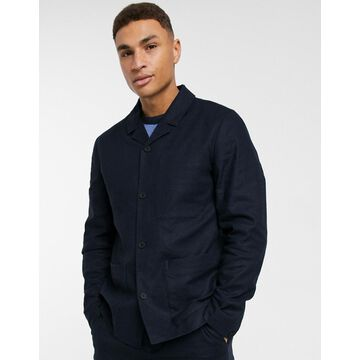 Selected Homme linen mix worker suit jacket in navy