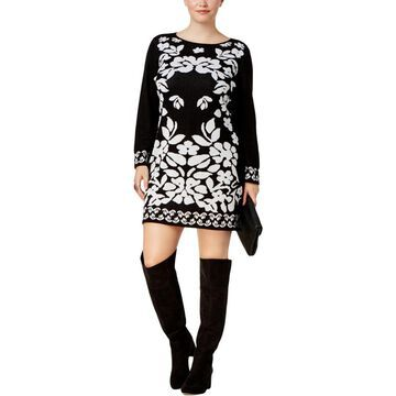 NY Collection Womens Plus Jacquard Mini Sweaterdress