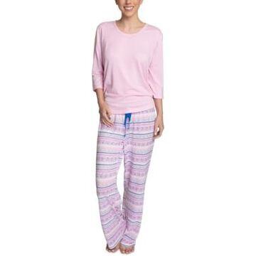 Muk Luks Plus Size Solid Top & Printed Pajama Pants Set