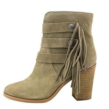 Yellow Box Womens Upon Leather Closed Toe Ankle Fashion Boots, Taupe, Size 11.0