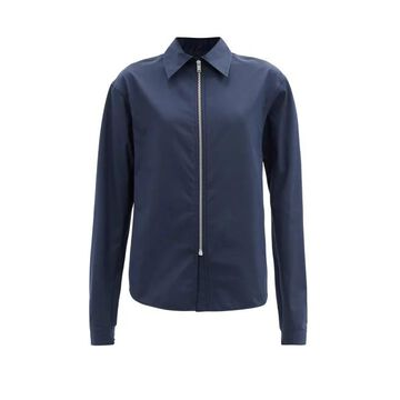 Jil Sander - Zip-front Cotton-blend Blouse - Womens - Navy