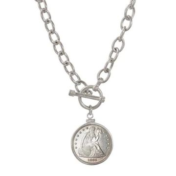 American Coin Treasures Sterling Silver Civil War Seated Liberty Toggle Necklace