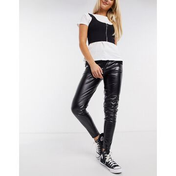 QED London PU pants in black