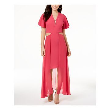 XOXO Womens Pink Cut Out Short Sleeve V Neck Maxi Party Dress Juniors Size: M