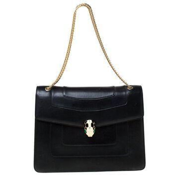 Bvlgari Black Leather Large Serpenti Forever Shoulder Bag