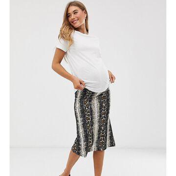 Mamalicious maternity jersey snake print midi skirt-Multi