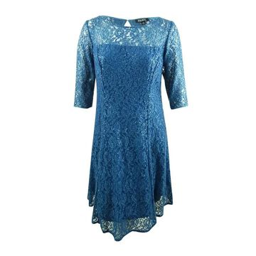 SL Fashions Women's Plus Size Sequined Lace A-Line Dress
