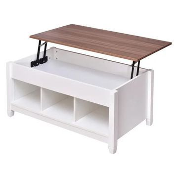 Costway Top Table w/ Hidden Compartment & Storage Shelves Modern Furni