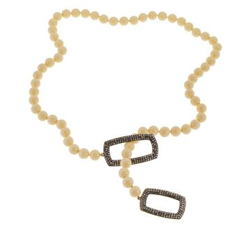 Heidi Daus Game Changer 30 Beaded Pave Lariat Necklace