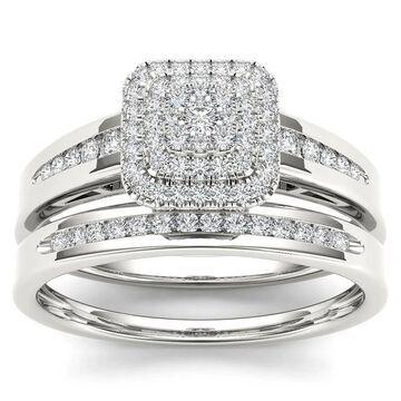De Couer 10k White Gold 1/3ct TDW Diamond Cluster Halo Bridal Set (Size 8.5)