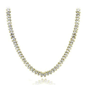 Icz Stonez Sterling Silver or 18k Gold Over Silver Marquise-Cut Cubic Zirconia Tennis Necklace