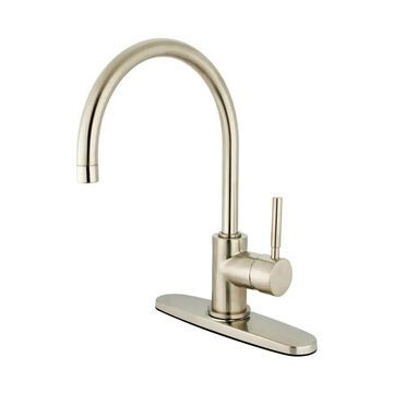 Elements of Design Concord Satin Nickel 1-handle Deck-mount High-arc Handle Kitchen Faucet (Deck Plate Included) | ES8718DLLS