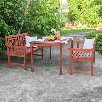 Malibu 3pc Rectangle Wood Outdoor Patio Dining Set - Tan - Vifah
