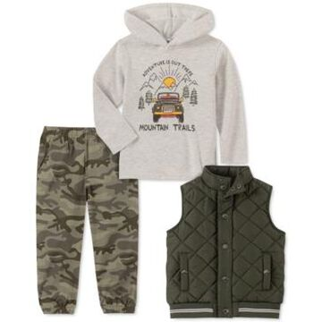 Kids Headquarters Baby Boys 3-Pc. Quilted Vest, Thermal Hoodie & Camo-Print Jogger Pants Set