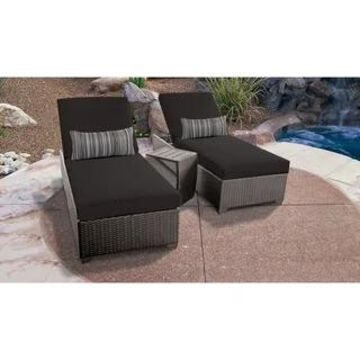Belle Curved Chaise Set 2 Outdoor Furniture w/ Side Table