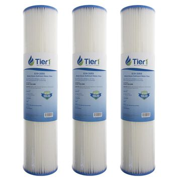 Tier1 R30-20BB 30 Micron 20 x 4.5 Pleated Polyester Sediment Pentek R30-20BB Comparable Replacement Water Filter 3-Pack
