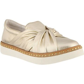 Azura Women's Thatsarap Slip On Sneaker Gold Leather