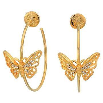 Kenneth Jay Lane Gold w/ Crystal Butterfly Medium Hoop Pierced Earrings (Gold/Crystal) Earring